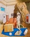 Muebles y rocas en una habitacion