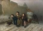 Тройка. Ученики мастеровые везут воду. 1866 Холст, масло. 51.5x65.8 ГТГ