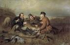 Охотники на привале. 1871. Холст, масло. 119х183 ГТГ
