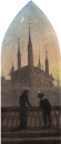Две фигуры в старонемецких костюмах рассмотривают средневековый город, неизв дата