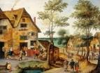 Пейзаж со святым семейством, идущим к гостиннице (частная коллекция)