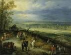 Обширный пейзаж с путешественниками на проселочной дороге, 1608-1610