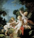 Путти с птицами, 1730-1733
