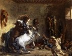 1860 - Arab Horses Fighting in a Stable
