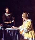 Хозяйка и горничная, держащая письмо