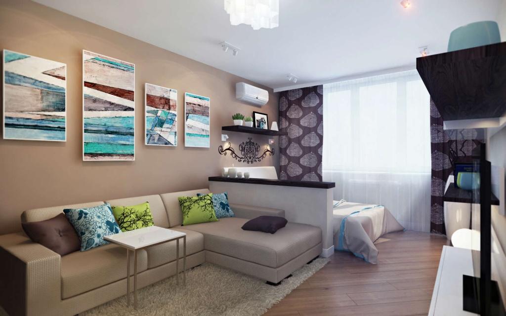 Дизайн интерьера однокомнатной квартиры 40 кв.м с ребенком
