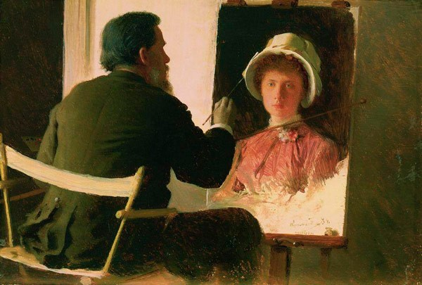Крамской, пишущий портрет своей дочери, Софьи Ивановны Крамской, в замужестве Юнкер. 1884