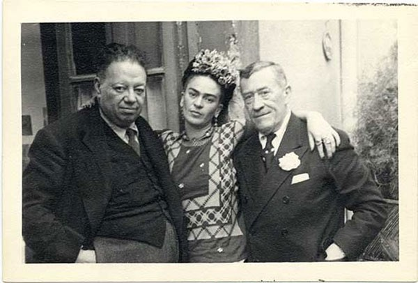 1942 - 45 Frida Kahlo and Diego Rivera with Chester Dale, Coyoacan