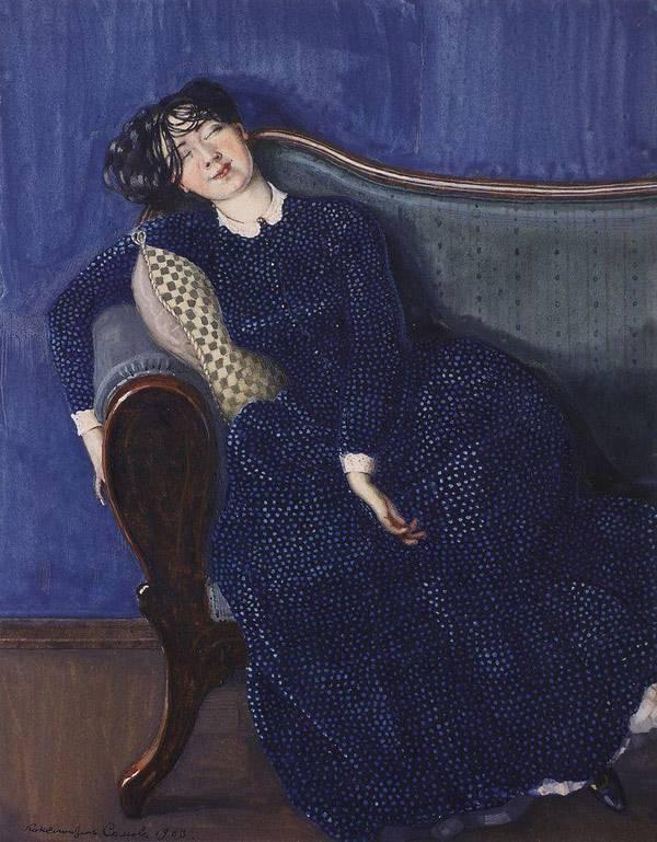 Спящая женщина в синем платье. 1903 Сомов