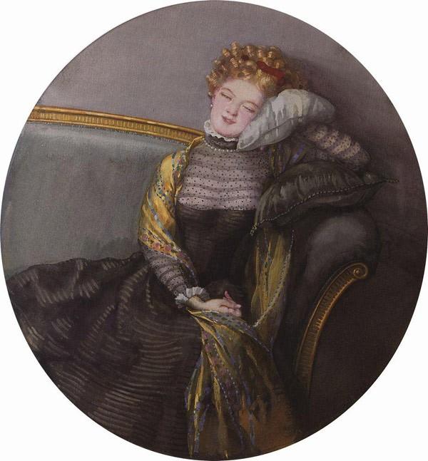 Дремлющая дама в черном платье. 1909