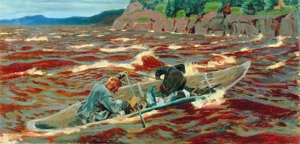 В лодке (Смельчаки). 1914