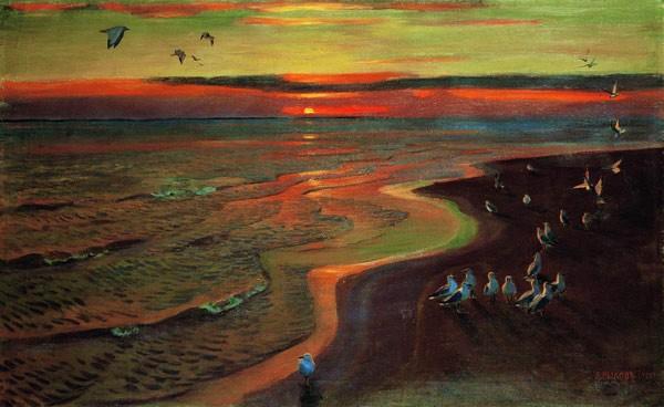 Чайки. Закат. 1922