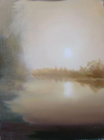 Как нарисовать рассвет на озере