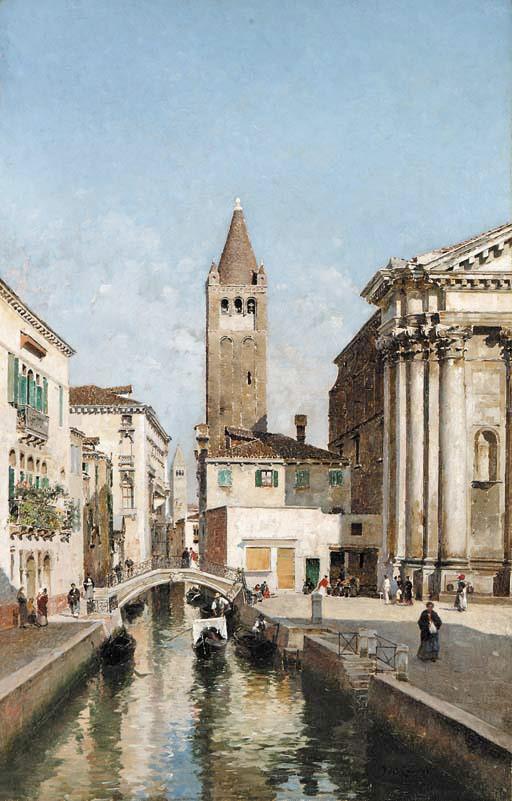 Венецианский канал с церковью Сан Барнабы и площадью Сан Барнабы