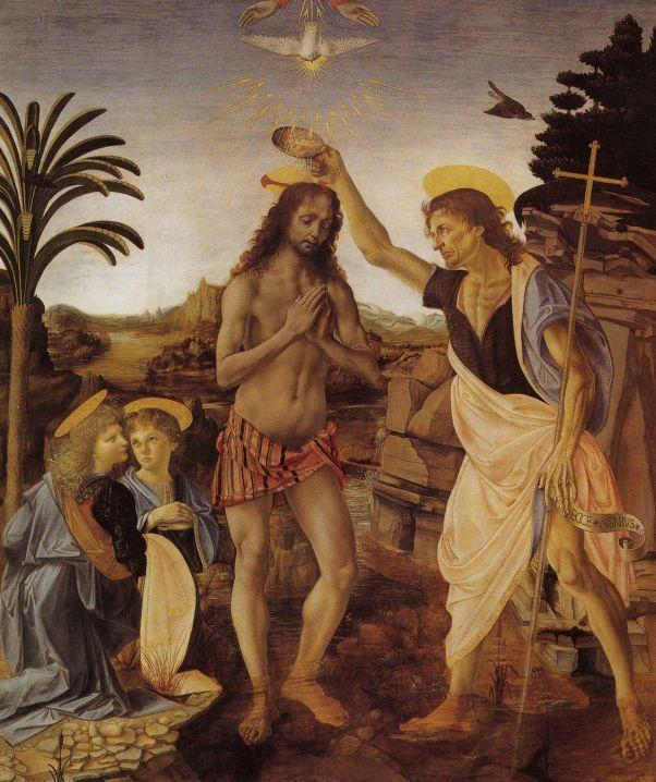 Крещение Христа.  Леонардо да Винчи