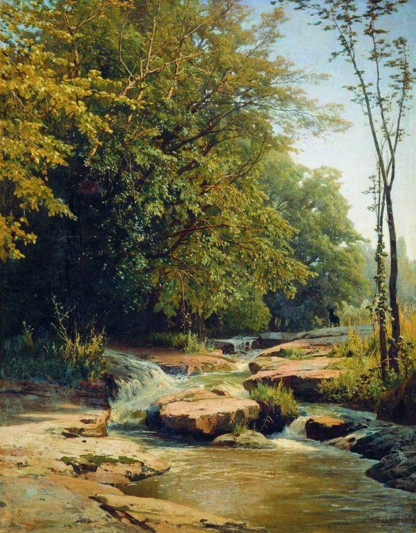 Пейзаж с горным ручьем