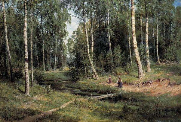 Ручей в берёзовом лесу