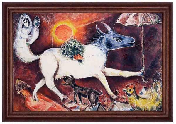 Керамическая картина по мотивам работы Марка Шагала «Корова с зонтиком»