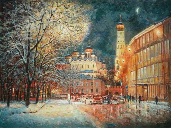 На улице зимней, средь вечерних огней... /  Игорь Разживин