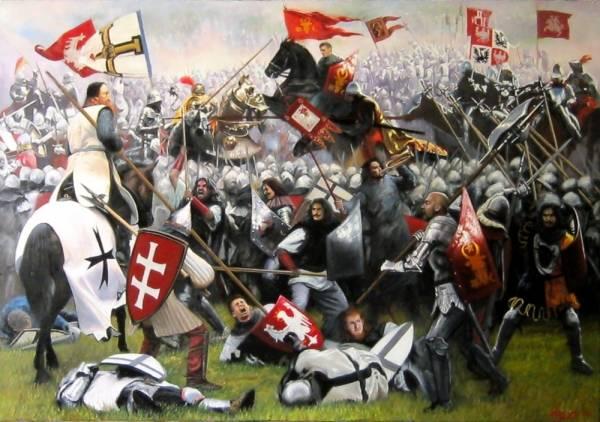 Грюнвальдская битва,1410 г., солдаты Молдавского княжества атакуют рыцарей Тевтонского ордена
