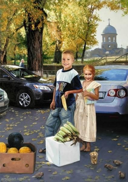 Молдавские дети зарабатывают на учёбу в школе. Продавцы молочной кукурузы.