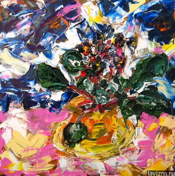 Картина Фиолетовая фиалка Натюрморт Екатерина Лебедева Лавизм