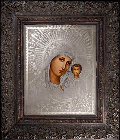 Живопись на фарфоровом пласте 'Икона Казанской божией Матери'