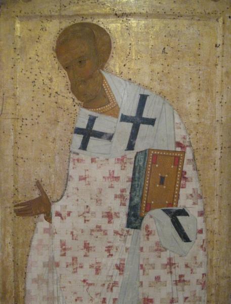 Святой Григорий Богослов, Архангел Гавриил, Святой Иоанн Златоуст. 1502 г. Фрагмент. Собор Рождества
