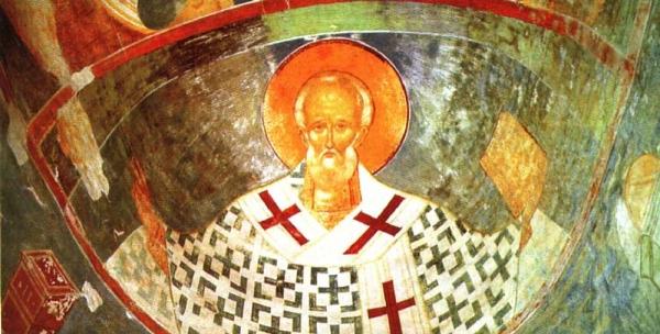 Николай Чудотворец. Роспись собора Рождества Богородицы Ферапонтова монастыря. 1495-1496