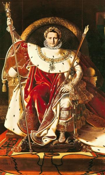 1806. Наполон I на императорском троне (260 х 163 см) (Париж, Музей армии в Доме Инвалидов)