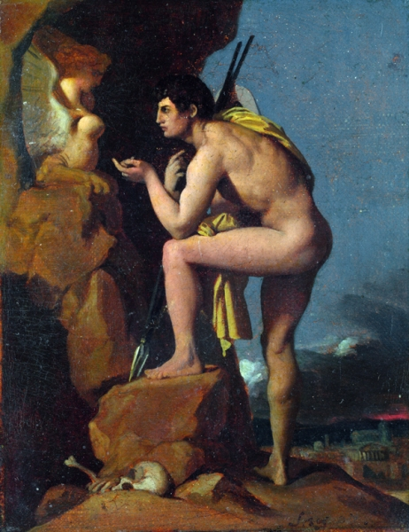 1826(ок). Эдип и сфинкс (17.5 х 13.7 см) (Лондон, Национальная галерея)