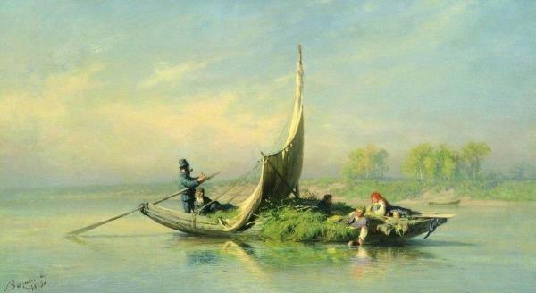 Крестьянская семья в лодке. 1870