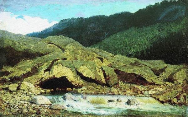 Пейзаж со скалой и ручьем. 1867