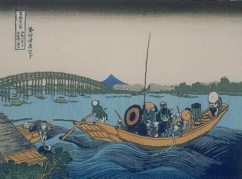Onmayagashi Yori, the sunset view across the Ryogoku bridge from the bank of the Sumida river at Onm