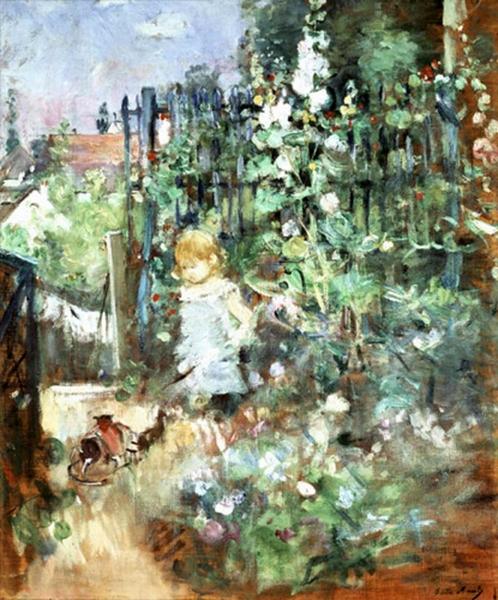 Ребенок у куста мальвы