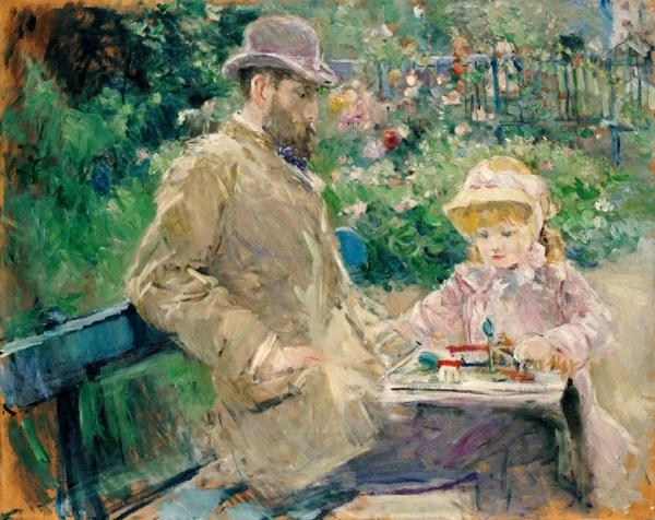 Эжен Мане с дочерью в Буживале