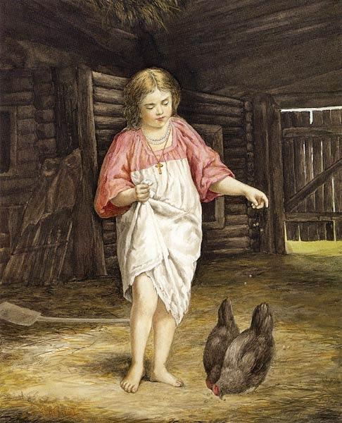 Девочка, кормящая кур