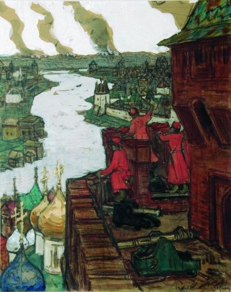 Татары идут. Конец XIV века (Идут! Набег татар на Москву). 1909