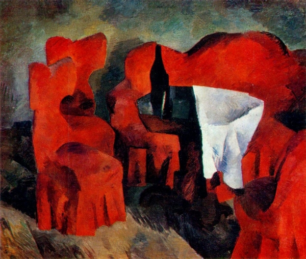 Красная мебель картина