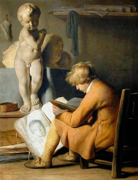 Мальчик-ученик в студии