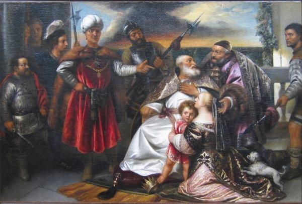 Моисей наступает ногой на корону