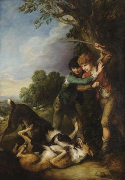 Мальчики пастухи и дерущиеся собаки