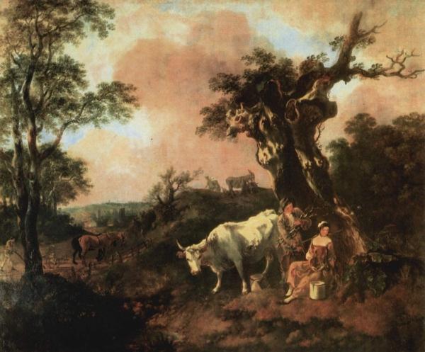 Лесоруб, флиртующий с юной молочницей