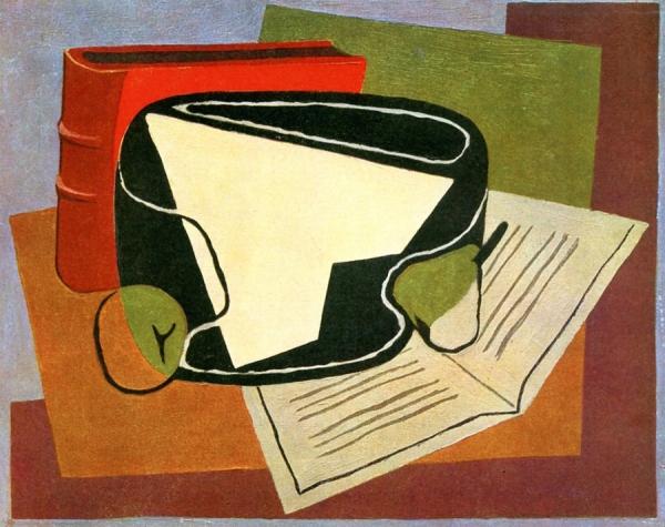 Книга и фруктовая тарелка