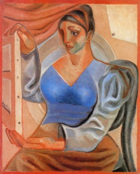 Женщина с картиной