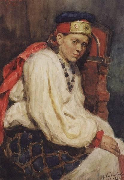 Натурщица в старинном русском костюме. 1882