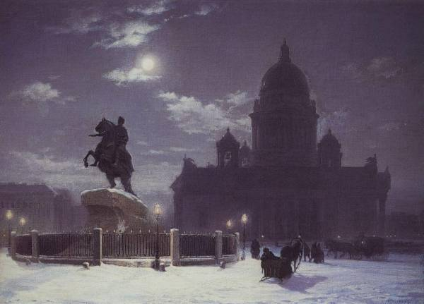 Вид памятника Петру I на Сенатской площади в Петербурге. 1870