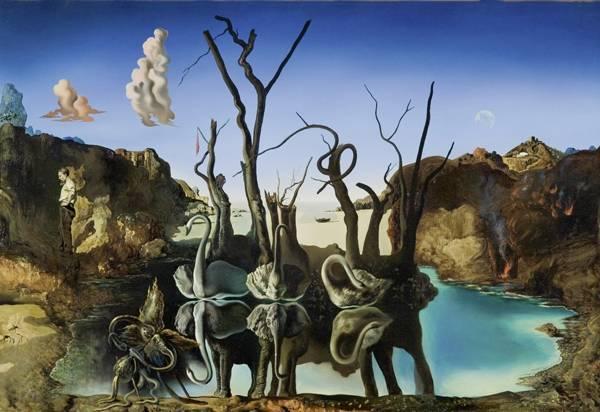 1937_Лебеди, отражающиеся в слонах