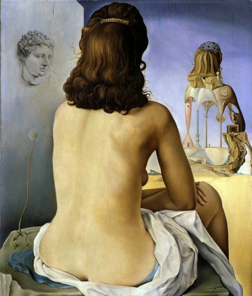 1945 Моя жена обнажённая смотрит на собственное тело, ставшее лесенкой, тремя позвонками колонны и.