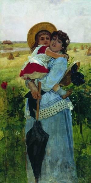 Портрет жены с сыном Георгием.